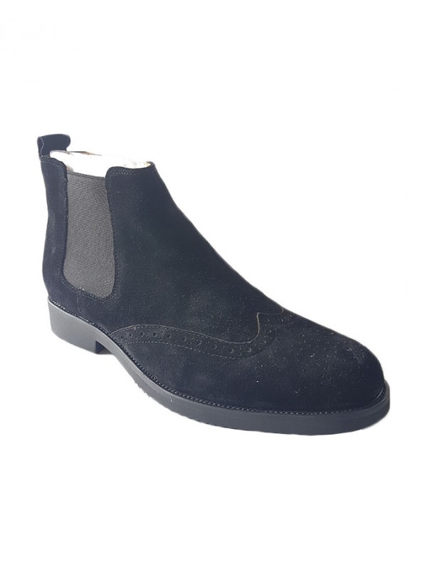 Black Suede Brogues Chelsea Boot