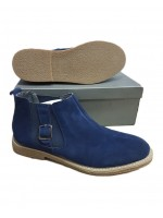 Blue Chelsea Boot With Side Buckle