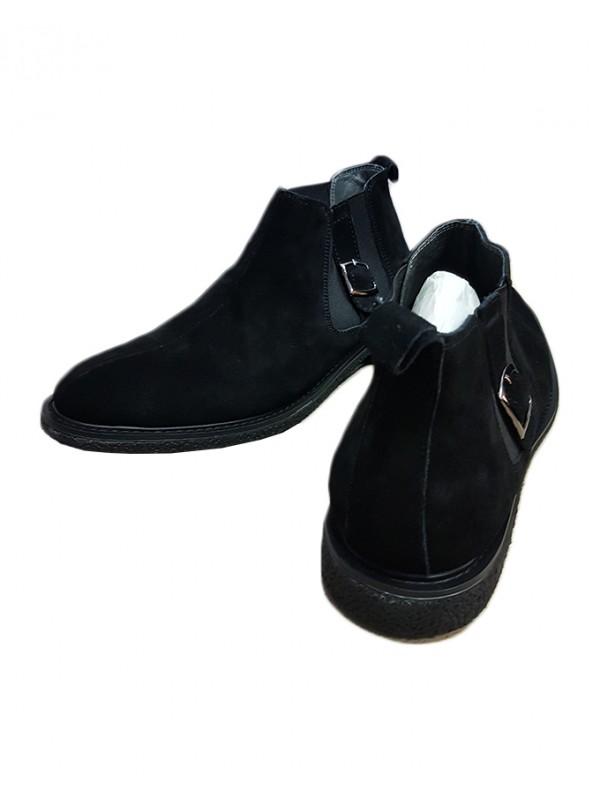 Black Suede Elastic Boot