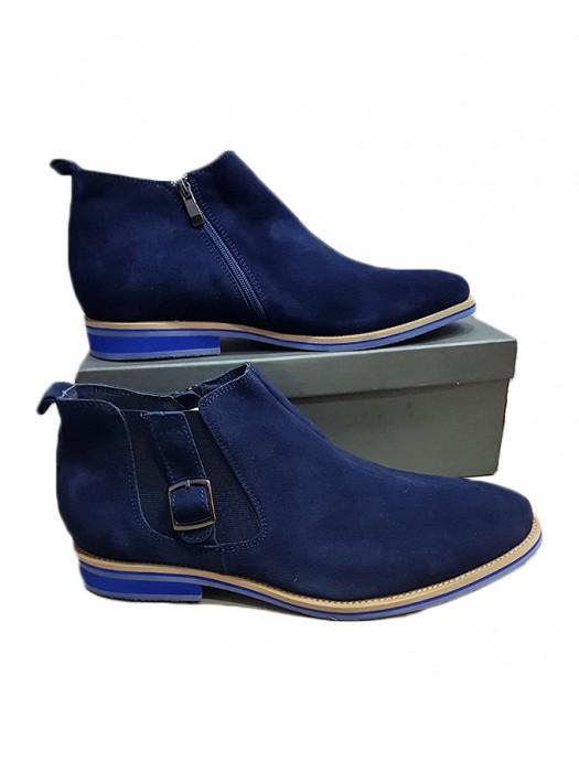 Blue Side Zip Suede Boot