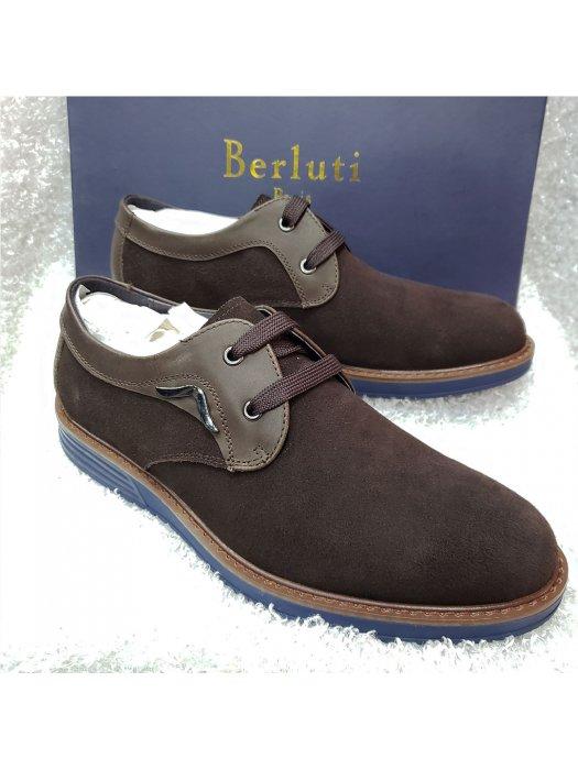 Brown Men's Suede Lace-up Shoe