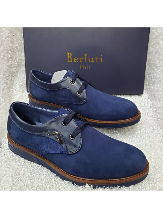 Blue Laced Men's Suede Loafer Shoe