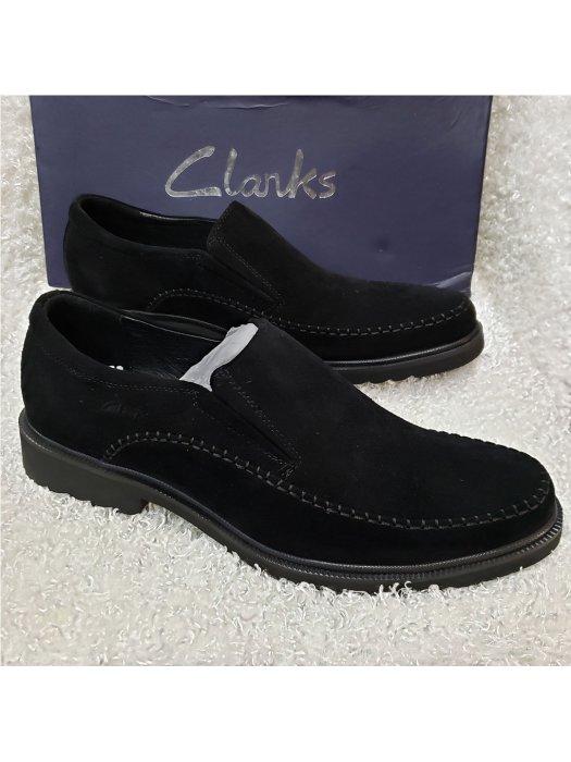 Black Clarks Men's Suede Loafer Shoe