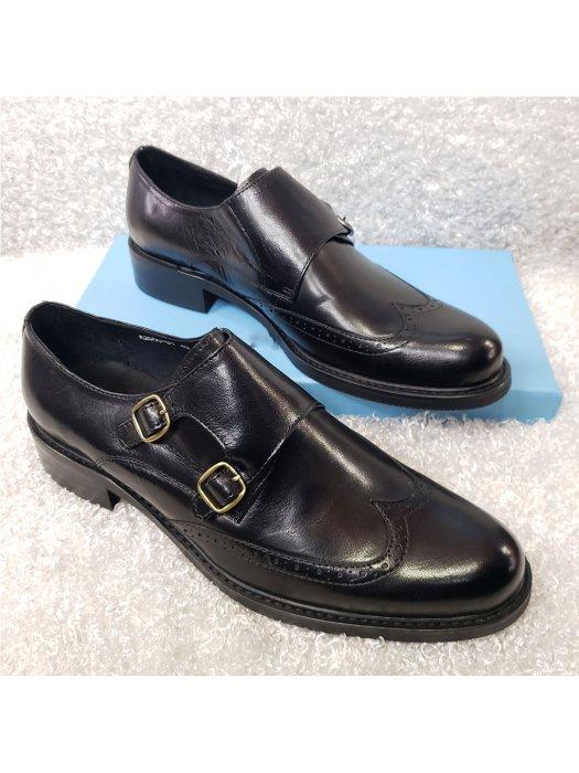 Black Men's Double Monk Strap Shoe