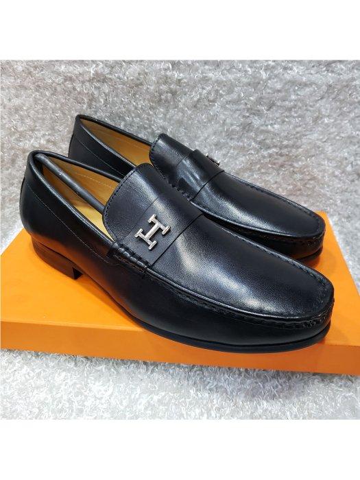 Plain Leather Hermes Loafer Shoe