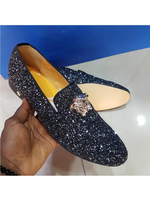 Studs Crested Versace Loafer - Black