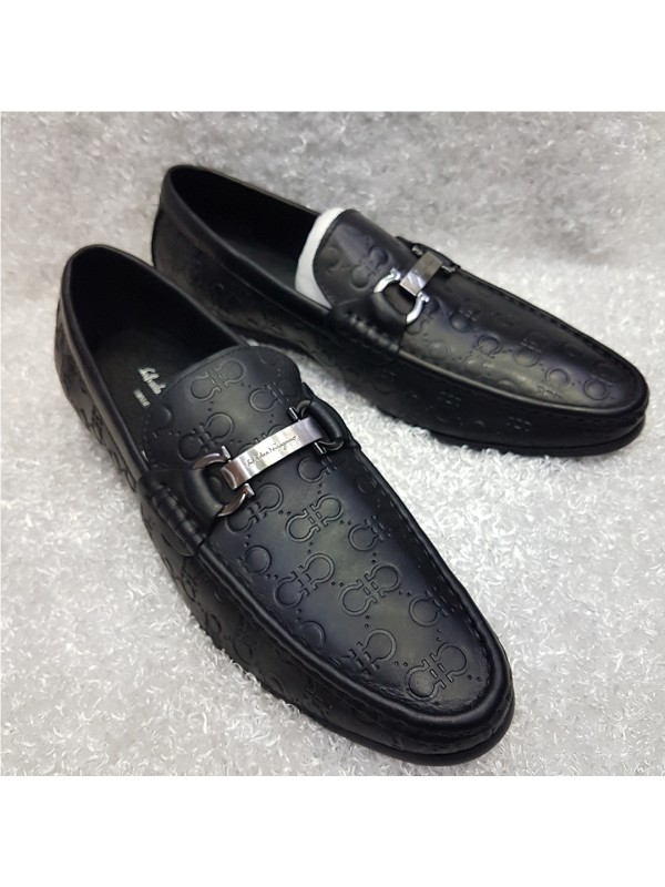 Feragamo Stated Horsebit Loafer - Black