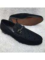Feragamo Check Suede Horsebit Loafers - Black