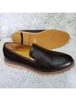 Bugatchi Plain Leather Loafer - Brown