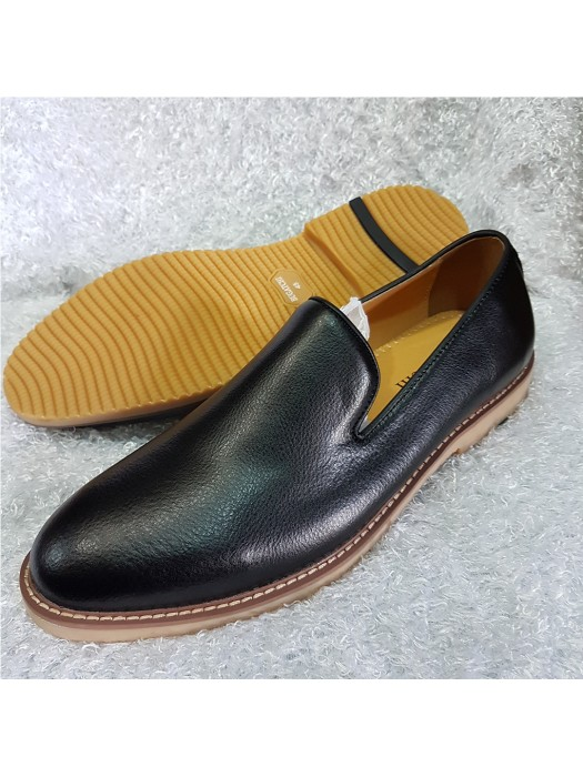 Bugatchi Plain Leather Loafer - Black
