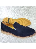 Bugatchi Plain Suede Loafer - Blue