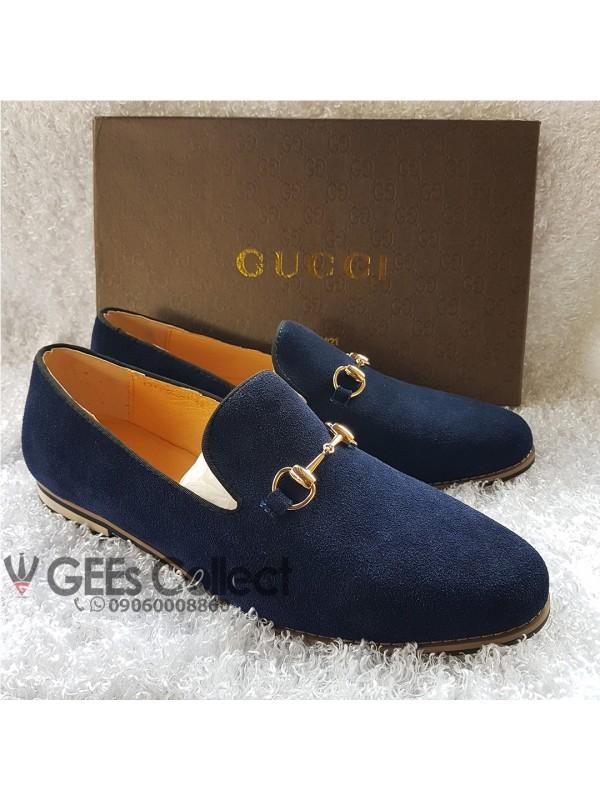 db0a8faa8b4 Suede Gucci Horsebit Loafer Shoe - Blue