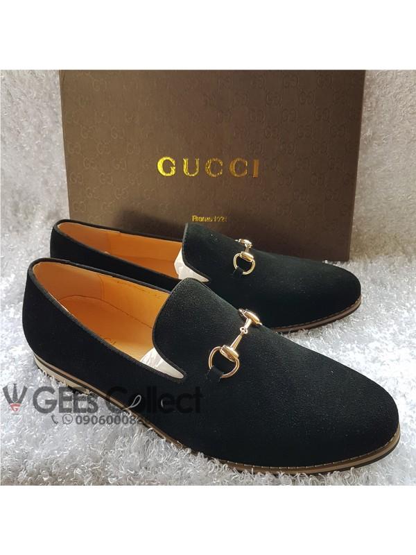 Black Suede Gucci Loafer Shoe Black