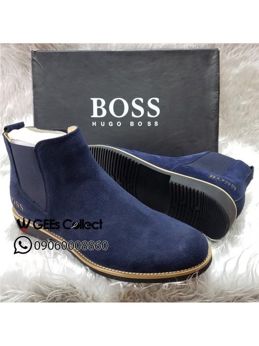 Blue Suede Elastic Boot