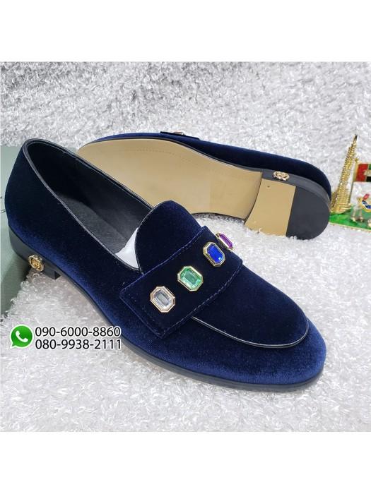 Velvet Blue Gucci Loafer Shoe