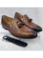 Brown Anax Designed Leather Shoe