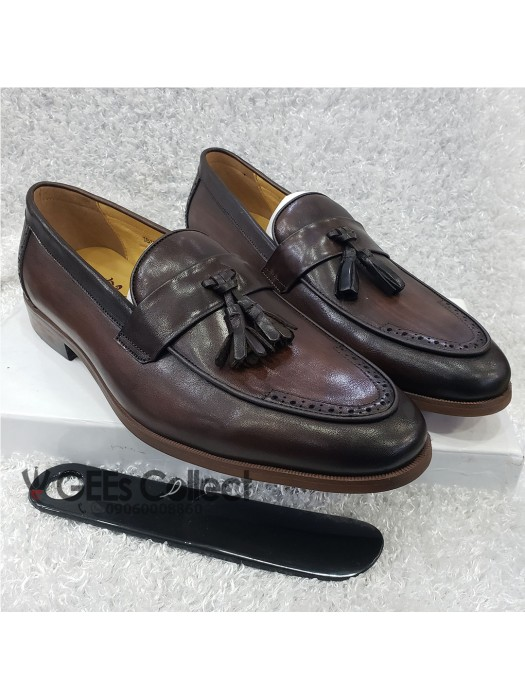 Dark Brown Men's Tassel Loafer Shoe