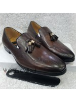 Dark Brown Designed Men's Tassel Loafer Shoe