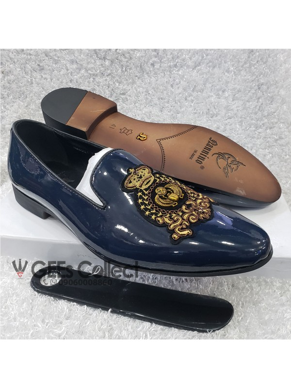 Blue Patent Men's Loafer Shoe