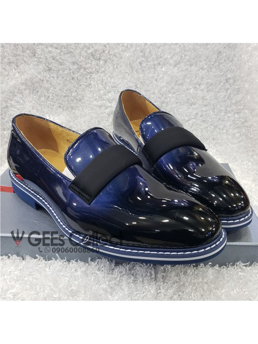 Blue And Black Patent Loafer Shoe