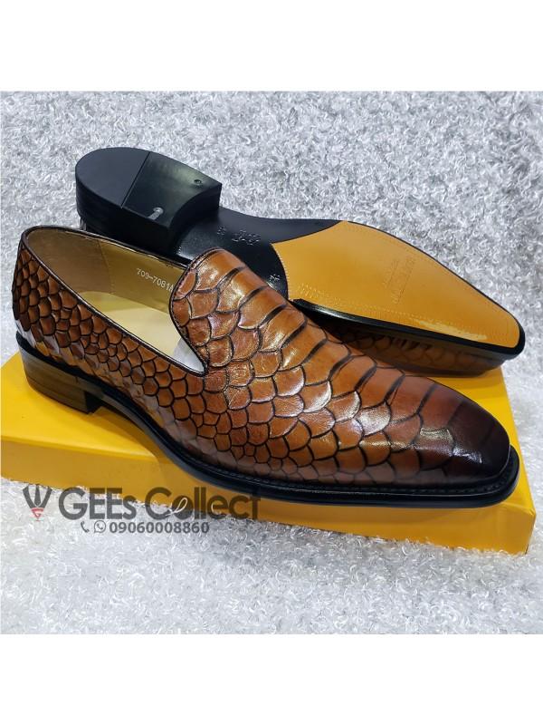 Brown Skin Leather Men's Loafer Shoe