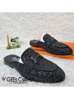 H Studded Black Mule Shoe