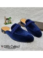 GG Blue Velvet Half Shoe