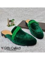 GG Green Velvet Half Shoe