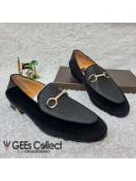 GG Black Velvet Horsebit Loafer