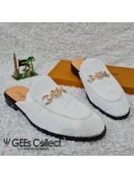 LV White Velvet Half Shoe