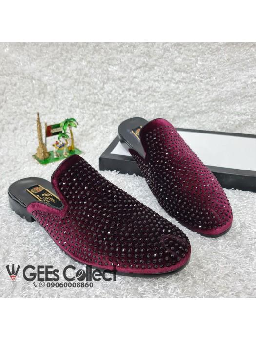 GG Wine Velvet Half Shoe