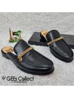 Pure Leather Chain Vamp Half Shoe