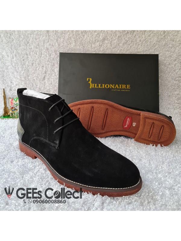 Billionaire Black Suede Lace-up Boot