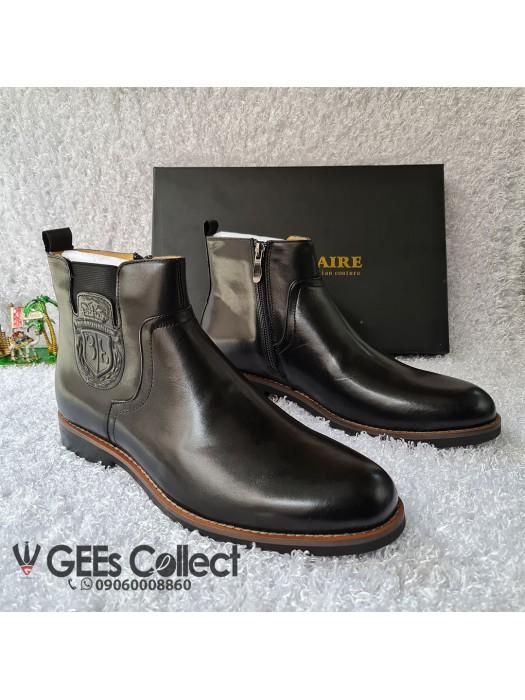 Billionaire Black Leather Zip-up Boot