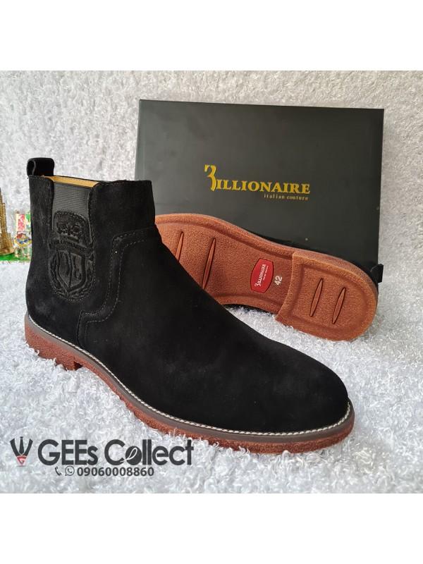 Billionaire Black Suede Zip-up Boot