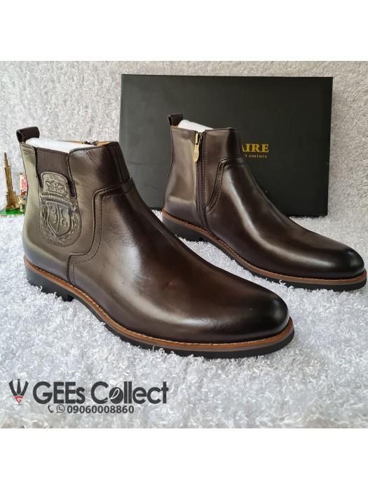 Billionaire Coffee Brown Leather Zip Boot