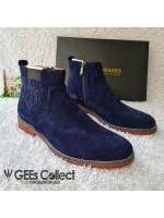 Billionaire Blue Suede Zip-up Boot
