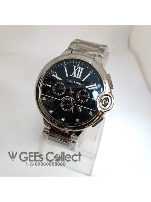 Cartier Silver Chain Black Faced Chronograph Watch